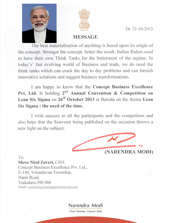 Hon'ble Chief Minister Narendra Modi's Letter to Mr. Nital Zaveri for 2013 Convention