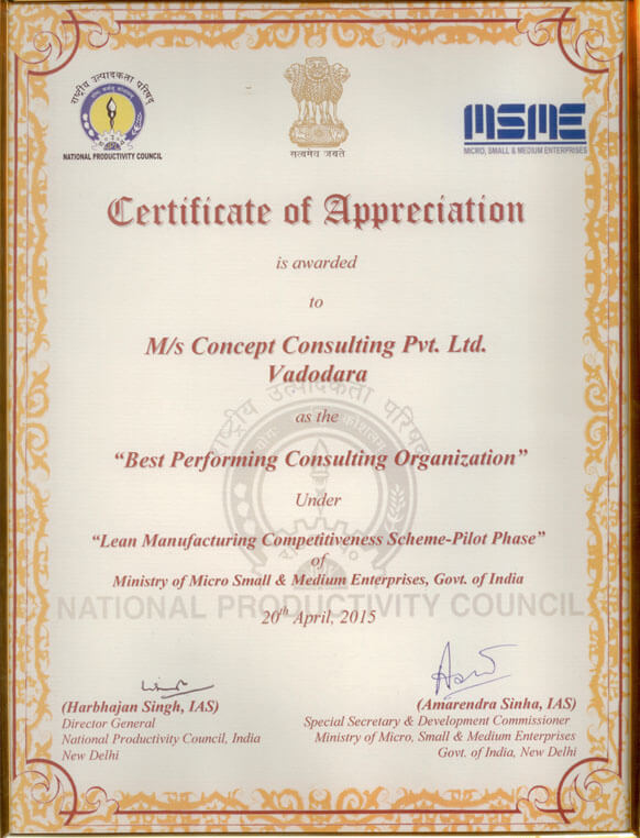 Concept Business Excellence Pvt. Ltd. was awarded as Best Performing Lean Consulting Organization By National Productivity Council (NPC) & MSME, Goverment Of India